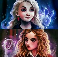 oh my goodness i have seen the drawing of luna and her patronus, but not hermione! so cool