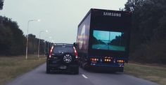 I love this PR move by samsung. They saw a place that was sorely lacking in innovation and they went out and improved on how people pass trucks. It has made the road safer and it is free publicity for samsung. Indiana Jones, Samsung, Safety Kit, Cars Uk, Big Rig Trucks, Save Life, Videos, Around The Worlds, Display