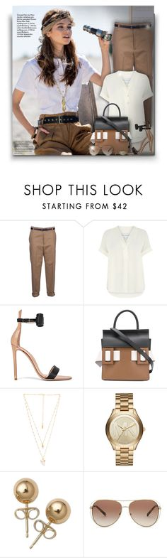 """Brown, black and white!"" by asia-12 ❤ liked on Polyvore featuring Golden Goose, Warehouse, Gianvito Rossi, Marni, Natalie B, Michael Kors and Bling Jewelry"