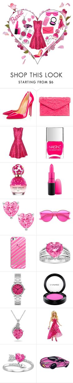 """""""Barbie"""" by chelseasayswhat ❤ liked on Polyvore featuring Christian Louboutin, Valentino, Oscar de la Renta, Nails Inc., Marc Jacobs, MAC Cosmetics, ZeroUV and Casetify"""