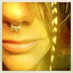 Anila. An Indian gold septum ring, elven body jewelry, gold body jewelry tribal septum ring tribal jewelry, burningman