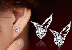 2016 New hot sale Fashion Silver Jewelry Angel Wings Crystal Ear Stud Earrings Exquisite women fashion Earrings Angel Earrings, Wing Earrings, Girls Earrings, Crystal Earrings, Sterling Silver Earrings, Diamond Earrings, Silver Jewelry, 925 Silver, Crystal Rhinestone