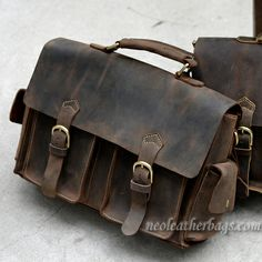 Vintage Leather Briefcase / Messenger Bag