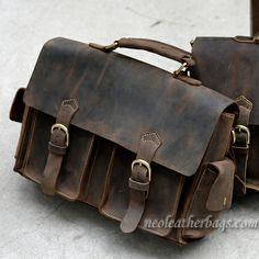 Vintage Leather Briefcase / Messenger Bag