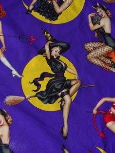 Alexander Henry Bewitched Halloween Fabric  /  Vargas Girl Pin Ups