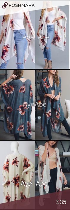"""New Floral print kimono wrap coverup open cardigan New Floral print kimono wrap coverup , black, cream or charcoal. Beach Trendy boho chic. Fabric: 100% viscose . Measurement 38""""x46"""" Accessories Scarves & Wraps"""