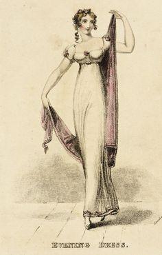Fashion Plate (Evening Dress) England, London, November 1812 Prints; engravings Hand-colored engraving on paper Fashion Plate (Evening Dress) | LACMA Collections