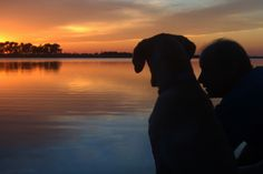watching sunset with dog at the lake