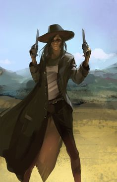 """Outlaw - Oleg Saakyan. This lady gunslinger is very much """"Neena in action."""""""