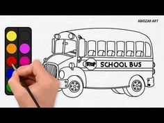 How to draw a School Bus EASY step by step for kids / beginners / childr...