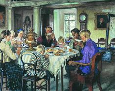 """Nikolay Bogdanov-Belsky (Russian). """"New Owners Drinking Tea."""" (1913) (notice how they seem to be drinking their tea out of saucers, and It looks like Danishes on the table.)"""