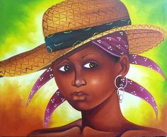 "Haitian Art, Art of Haiti, Wall Art, Haitian Woman, Hand Painted, Canvas Painting, Wall Decor,  Haitian Painting, Canvas Art, - 20"" x 24"" by TropicAccents on Etsy"