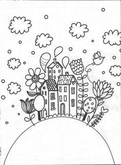 coloring pages - House Drawing Simple Colour Ideas house drawing Doodle Drawings, Doodle Art, Easy Drawings, Tangle Doodle, Zentangle, Colouring Pages, Coloring Sheets, Coloring Books, Embroidery Stitches