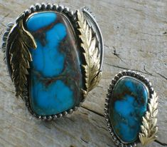 Turquoise old pawn silver cuff and ring set