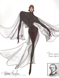 46 1989 Thierry Mugler, Sketch for Mylène Farmer Tour 1989 Fashion Illustration Sketches, Fashion Sketchbook, Fashion Sketches, Artist Sketchbook, World Of Fashion, Fashion Art, Fashion Design, Farmer Costume, Broadway Costumes