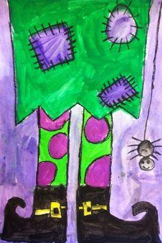 Sunset Valley Elementary art on Artsonia (grade 3 art fall) Halloween Art Projects, Fall Art Projects, Classroom Art Projects, Art Classroom, Art Activities For Kids, Art For Kids, Art 2nd Grade, Grade 3, Classe D'art