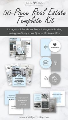 Save time and money with this modern real estate social media template kit. Created to help you market your brand and showcase your business. Media Kit Template, Quote Template, Social Media Template, Graphic Design Tools, Tool Design, Free To Use Fonts, Creative Communications, Pinterest Design, Instagram Post Template