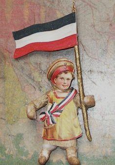 Antique German Spun Cotton Dresden Clown Harlequin Scrap Face Christmas Ornament