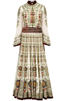 Ivory zari and resham embroidered anarkali set available only at Pernia's Pop-Up Shop.