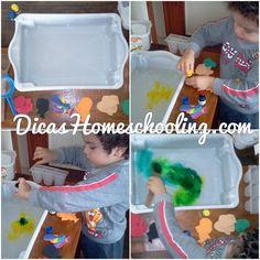 DICAS Homeschooling: Caixa Sensorial Cores água Matemética Muita Divers...