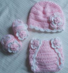 Baby Girl Infant Girl Crochet Hat Beanie Booties Diaper Cover Baby Shower Gift Photo Prop 10002 MADE TO ORDER by babybear27129…