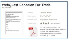 FREE webquest for the Canadian Fur Trade - 2 pages, grades 4-6 (junior social studies)