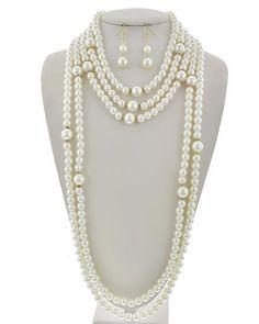 Gold Tone / Cream Synthetic Pearl & Clear Rhinestone / Lead&nickel Compliant / Fish Hook (earrings) / Multi Strand / Necklace & Earring Set