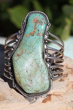 Huge Vintage Southwestern Tribal Sterling Silver Massive Turquoise Bracelet | eBay