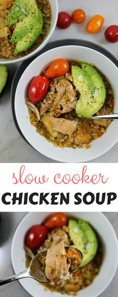 whole30, paleo slow cooker chicken soup! Super easy to make and delicious!