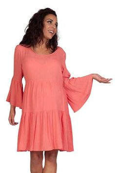 This maternity dress is hip, lightweight and fun. Features a cutout French lace back, cold shoulder bell sleeves, baby doll style cut and knee length hemline. Maternity Dresses For Baby Shower, Maternity Wear, Maternity Fashion, Pregnancy Shirts, French Lace, Lace Back, Dress For You, Strapless Dress, Short Dresses