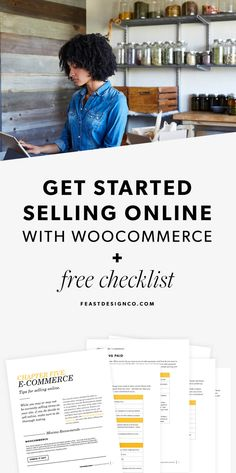 "Pamphlet for ""Getting Started Selling Online with Woocommerce + free checklist,"" showing a woman in a kitchen on a tablet"