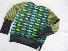 Langarmshirts - ✪ grüner Haifisch ✪ Schönes Langarmshirt - ein Designerstück von traumgenaeht bei DaWanda