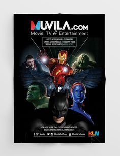 Muvila.com Poster / Printed Ads by TWIG STUDIO #twigstudioid , be.net/twigstudioid Poster Design, Poster Ideas, Graphic Design, Design, Movie, Layout, Modern, Inspiration, Montage, Superheroes