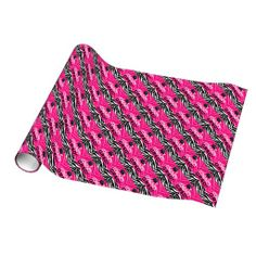 Hot Pink Zebra Congrats Girl's Graduation Party Gift Wrap Wrapping Paper #classof2014 #graduation #gradparty @Zazzle Inc.