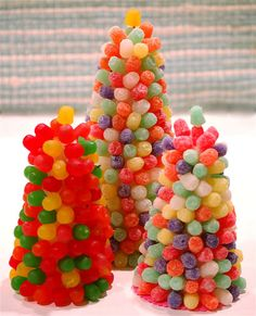 "Sweet Christmas tree.Used to make this as a child. Gumdrops. Styrofoam cone shape from craft store. Pin gumdrops to ""tree"" with toothpicks."