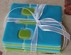 Retro Fused Glass Coasters by artisticflair on Etsy