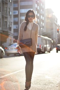 oversize knits and leather pants