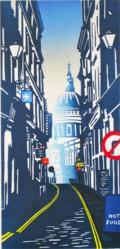 Janet Brooke RE, St Pauls from Watling Street, Linocut. POA, Contact info@banksidegallery.com for further details. See www.banksidegallery.com for other prints and paintings