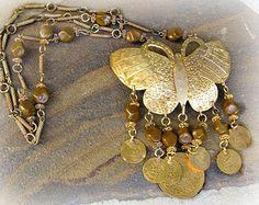 Big Butterfly Necklace Vintage Boho Style