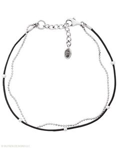 Leather, Sterling Silver. Looks so nice with the cubic zirconia take a bow bracelet