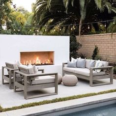 Outdoor Fireplace Designs, Backyard Fireplace, Modern Outdoor Fireplace, Modern Outdoor Living, Contemporary Outdoor Fireplaces, Outdoor Areas, Outdoor Rooms, Outdoor Decor, Outdoor Pool Furniture