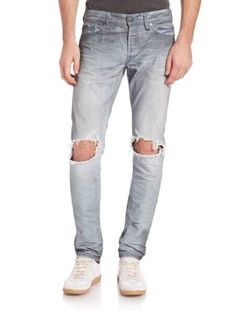 The Cast 2 Slim-fit Tapered Distressed Denim Jeans - Off-whiteJohn Elliott + Co