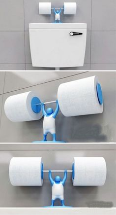 Is your toilet paper holder strong enough for the job?- Is your toilet paper holder strong enough for the job? Is your toilet paper holder strong enough for the job? Funny Toilet Paper Holder, Toilet Paper Humor, Unique Toilet Paper Holder, Toilet Roll Holder, Objet Wtf, Cool Inventions, Kitchen Gadgets, Bathroom Gadgets, 3d Printing