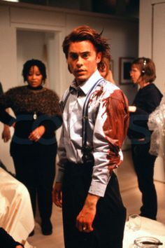 "Jared Leto on the set of ""American Psycho""."