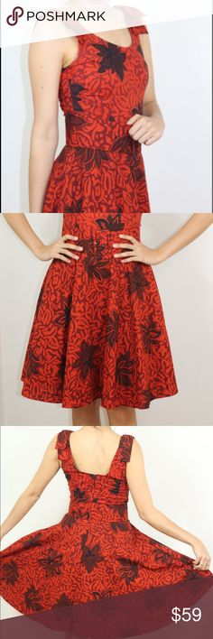 Spanish patterned vintage dress w matching belt Vintage patterned dress from Spain with matching belt and bows on the straps. Dress has two layers of tool underneath I add a little volume Dresses Midi