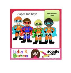 Clip Art available in PNG format only.Single user. Personal and Commercial use OK.Includes 4 super kid boys.Thank you for stopping by,...