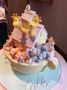 Novelty ark girl baby shower cake baby to come in future in. Baby Shower Cakes For Boys, Baby Shower Cookies, Baby Boy Shower, Noahs Ark Cake, Animal Cakes, Boy Baptism, 1st Birthdays, No Bake Cake, Noah Ark
