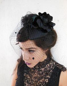 Black Feather Cocktail Hat. Fascinator, Black Birdcage Veil, Silk Flower, Teardrop Shape, Retro, Victorian, Goth