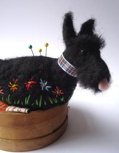 Original and one of a kind Needle Felted Scottie Pin Cushion  Designed and hand made by Miss Bumbles.    This little Scottie pin Cushion is made from