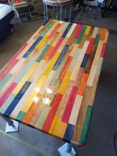 color block kitchen table, kitchen design, painted furniture, Distressed with first layer of polyurethane